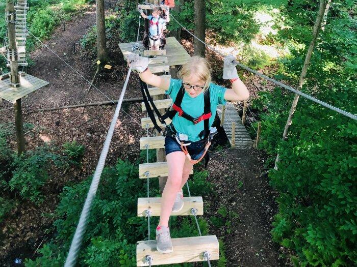 Kids at Peek'n Peak's Aerial Adventure Course